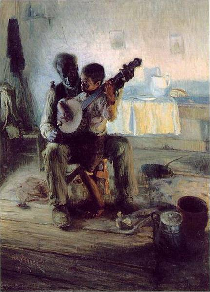 Henry Ossawa Tanner, The Banjo Lesson, 1893, Two Muses Homeschool Art Picture Study