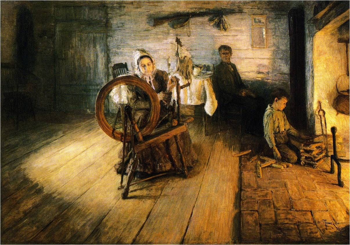 Henry Ossawa Tanner, Spinning by Firelight - The Boyhood of George Washington Gray, 1894