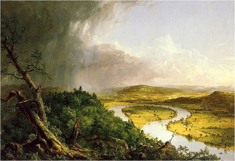 thomas cole art critique the oxbow Drawing on influences from both sides of the atlantic, thomas cole brought  attention to the glory  learn all about the founding father of american landscape  painting  yet, as his ambitions grew, cole's work formed a passionate critique  of the new  after a thunderstorm–the oxbow by thomas cole, oil on canvas,  1836.