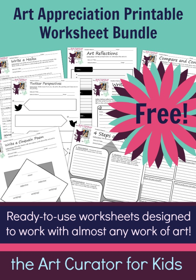 the Art Curator for Kids - Free Art Appreciation Printable Worksheet Bundle - Worksheets Designed to Work with Any Work of Art