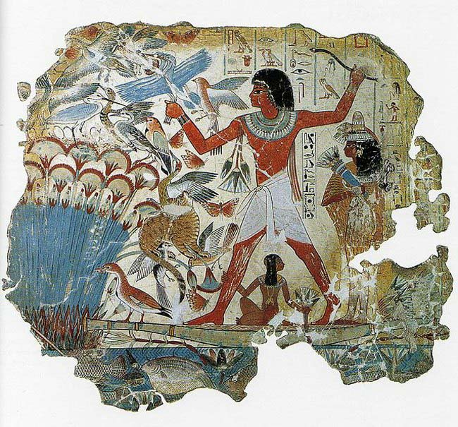 Egyptian, Nebamun hunting in the marshes, fragment of a scene from the tomb-chapel of Nebamun, Late 18th Dynasty, around 1350 B