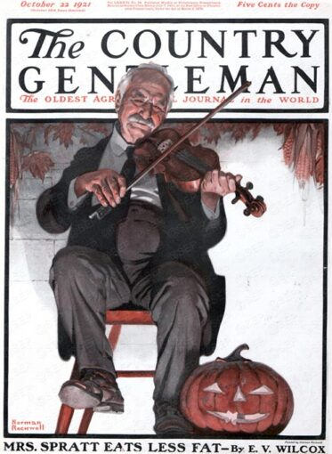 Halloween Fiddler, Norman Rockwell, Country Gentleman, October 22, 1921