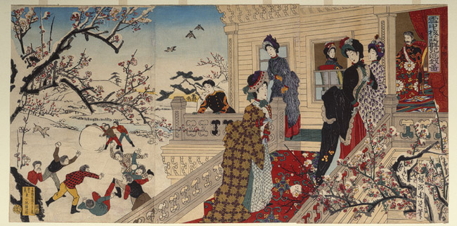 Hashimoto Chikanobu, A Group of Children Playing under the Plum Blossoms in the Snow, 1887, Japanese Woodblock print, Metropolitan Museum of Art