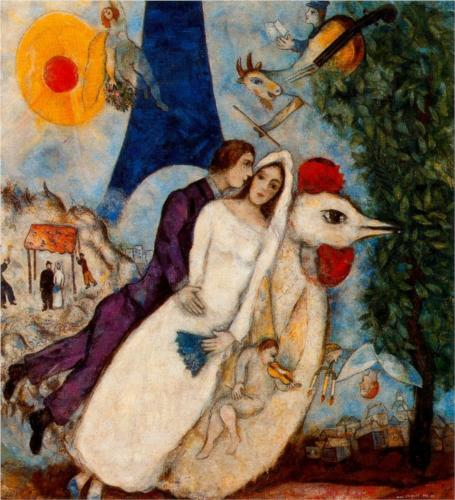 Marc Chagall, The Betrothed and Eiffel Tower, 1913