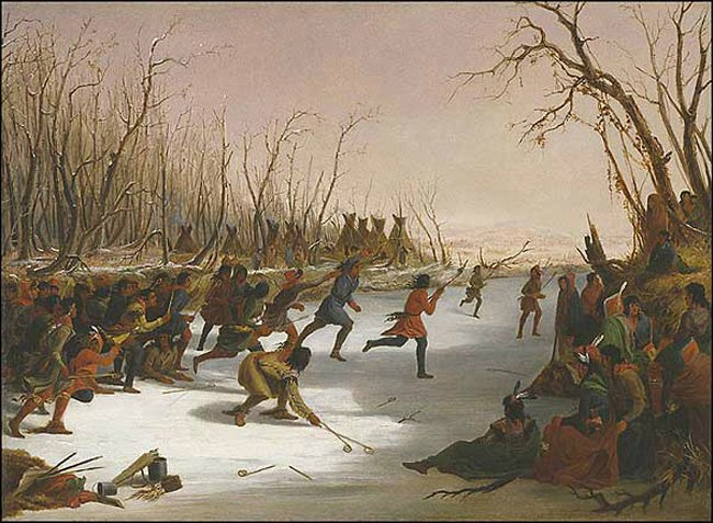 Seth Eastman, Ballplay of the Dakota on the St. Peters River in Winter, 1848, oil on canvas, Amon Carter Museum