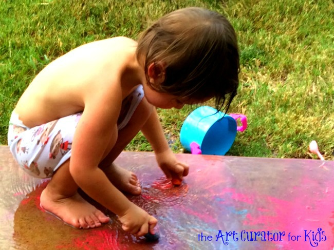 The Art Curator for Kids - Sensory Color-Mixing Art Activity with Chalk and Water - Toddler