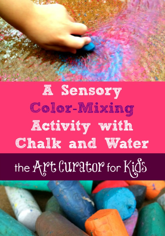A Sensory Color-Mixing Art Activity with Chalk and Water