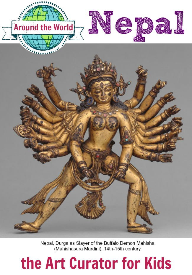 the Art Curator for Kids - Art Around the World - Nepal - Nepal, Durga as Slayer of the Buffalo Demon Mahisha (Mahishasura Mardini), 14th-15th century, Hindu Sculpture Lesson, Art History for Kids, Art Appreciation for Kids