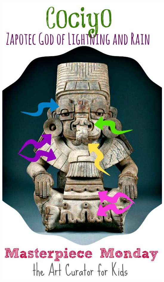 the Art Curator for Kids - Masterpiece Monday - Urn in the Form of Cociyo, God of Lightning and Rain - with Arrows, Zapotec Sculpture, Zapotec Art Lesson, Art History for Kids, Zapotec Symbolism