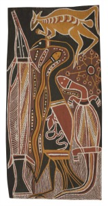 Aboriginal Art for Kids - David Malangi, Manharrnu clan, Totemic Animals, 1965-sm