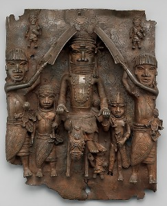 Plaque: Warrior and Attendants, 16th-17th century, Met Museum