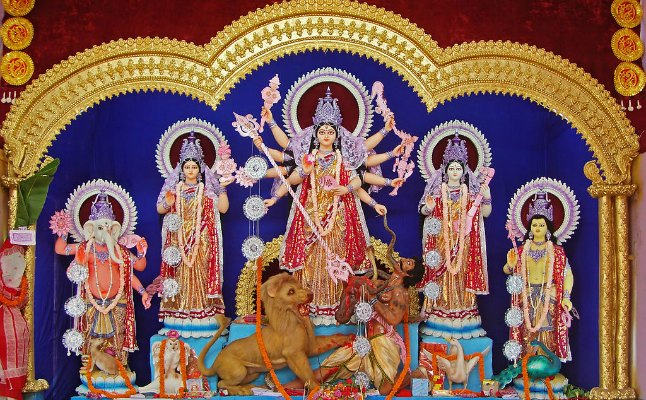Durga sculpture from a pandal at West Bengal, 2011, Photo by Joydeep