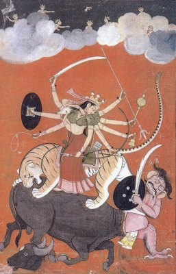 Goddess Durga, fighting Mahishasura, the buffalo-demon, early 18th Century