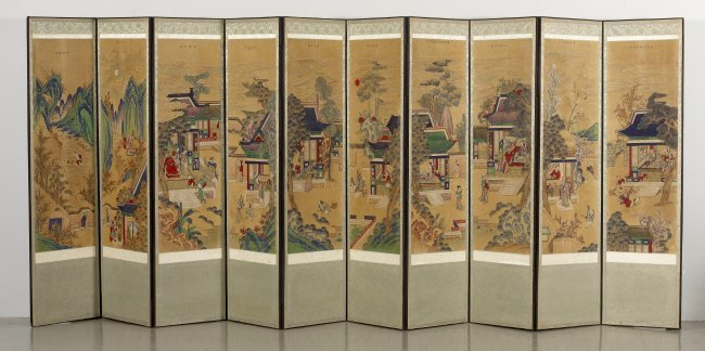 the Art Curator for Kids - Art Around the World - Korea - Korean, Ten-panel Folding Screen with Scenes of Filial Piety, 18th-19th century, Walters Art Museum - fullsize
