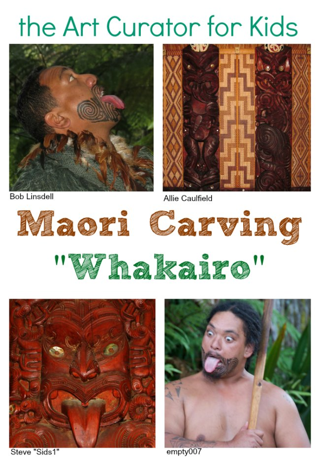 the Art Curator for Kids - Art Around the World - New Zealand - Maori Carving, Whakairo, Haka