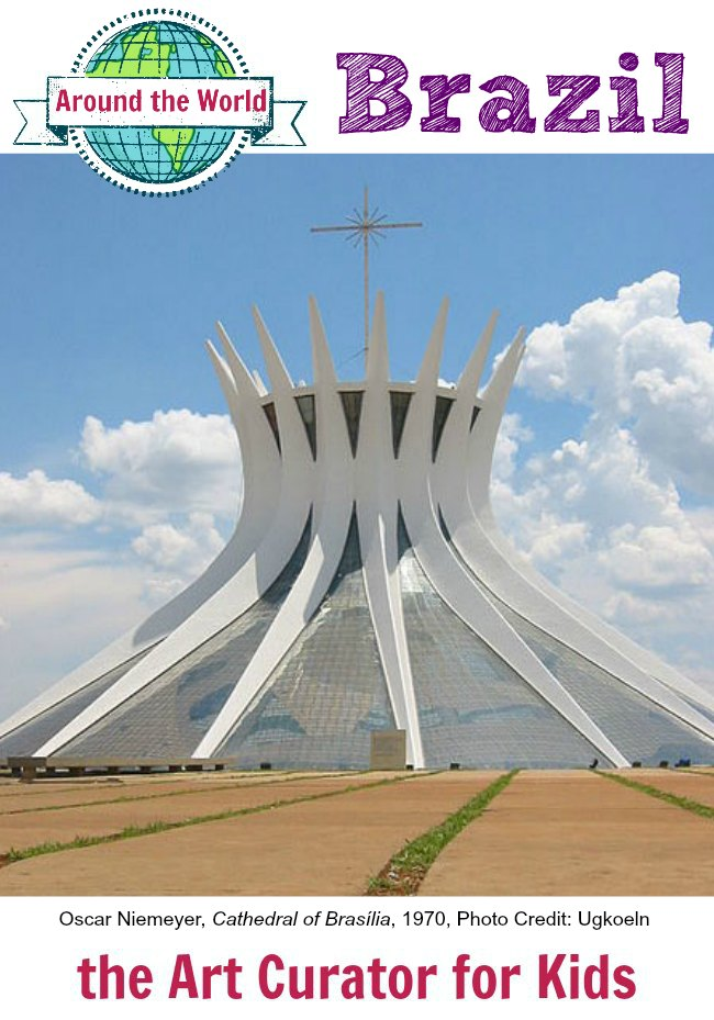 the Art Curator for Kids - Art Around the World - Oscar Niemeyer, Cathedral of Brasilia, 1970, Architecture for Kids, Art History for Kids