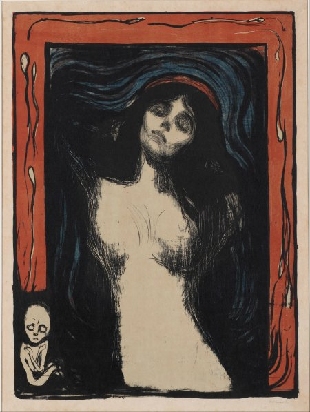 the Art Curator for Kids - 5 Favorite Madonnas in Art - Edvard Munch, Madonna, 1895–1902, Color Lithograph