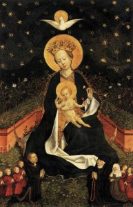 German, Madonna on a Crescent Moon in Hortus Conclusus, 1450s