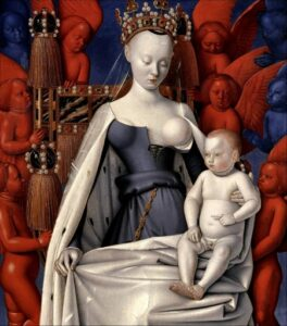Jean Fouquet, Virgin and Child Surrounded by Angels, 1452, oil on panel