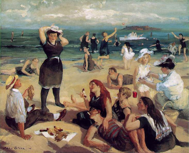 The Art Curator for Kids - How Artists Depict Space - Masterpiece Monday, John Sloan , South Beach Bathers, 1907-1908, Space Art Lesson, Elements of Art Lesson