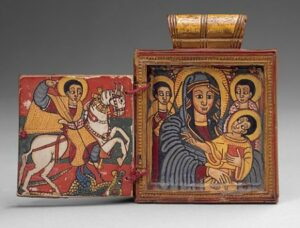 the Art Curator for Kids - 5 Favorite Madonnas in Art - Ethiopia, Double Diptych Icon Pendant, early 18th century, wood, tempera pigment, string