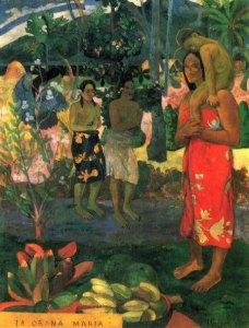 the Art Curator for Kids - 5 Favorite Madonnas in Art - Paul Gauguin, la Orana Maria (Hail Mary), 1891, oil on canvas