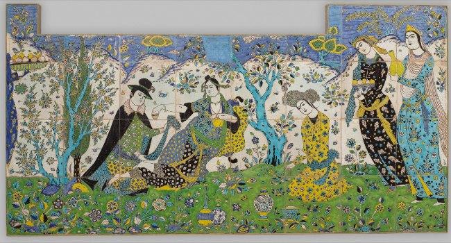 Iran, Garden Gathering, Tile panel, first quarter 17th century