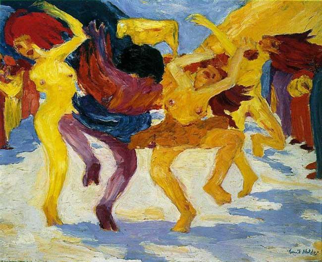The Art Curator for Kids - Kinesthetic Art History, kinesthetic learning in art - Emil Nolde, Dance Around the Golden Calf, 1910