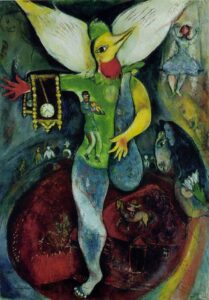 The Art Curator for Kids - Kinesthetic Art History, kinesthetic learning in art - Marc Chagall, The Juggler, 1943, Oil on canvas, The Art Institute of Chicago
