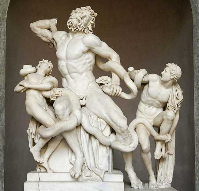 The Art Curator for Kids - Kinesthetic Art History - kinesthetic learning in art, Laocoön and his sons, also known as the Laocoön Group, Copy after Hellenistic original of c. 200 BCE