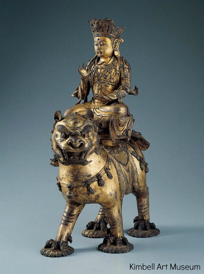 The Art Curator for Kids - Chinese Art for Chinese New Year - Manjushri on a Lion, c. 1150-1300, Kimbell Art Museum, chinese art lesson ideas