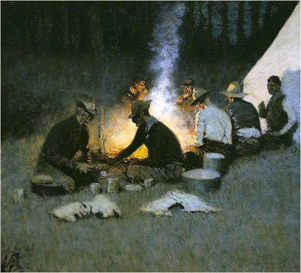 Frederic Remington, The Hunters' Supper, c. 1909, National Cowboy and Western Heritage Museum, Frederic Remington Art Lessons