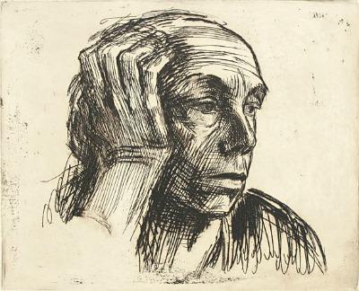 The Art Curator for Kids - Käthe Kollwitz, Self Portrait, Etching, 1921