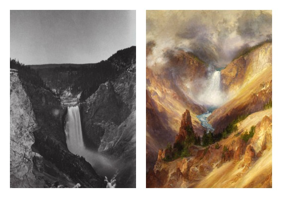 Left: Lower Falls of the Yellowstone, William Henry Jackson Right: Grand Canyon of the Yellowstone (detail), Thomas Moran