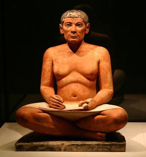 The Seated Scribe, Ancient Egyptian, Louvre Museum, Paris, Photo Credit: Ivo Jansch
