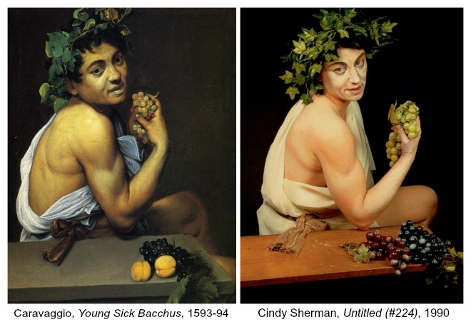 The Art Curator for Kids - Art About Art History - Cindy Sherman, Untitled 224 and Caravaggio Young Sick Bacchus