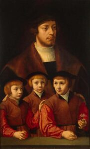 The Art Curator for Kids - Fathers in Art History - Barthel Bruyn the Elder, Portrait of a Man with Three Sons, 1530