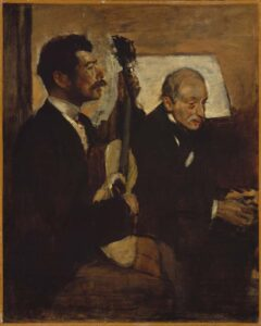 The Art Curator for Kids - Fathers in Art History - Edgar Degas, Degas' Father Listening to Lorenzo Pagans, 1869