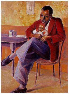 The Art Curator for Kids - Fathers in Art History - Gerard Sekoto,The Proud Father, Manakedi Naky on Bernard Sekoto's Knee, 1947