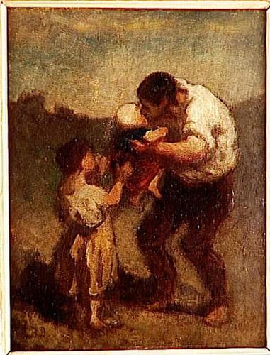 The Art Curator for Kids - Fathers in Art History - Honoré Daumier, The Kiss, c. 1845-48