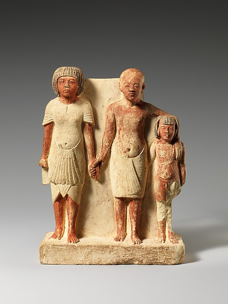 The Art Curator for Kids - Fathers in Art History - New Kingdom, Ancient Egypt, Statue of two men and a boy that served as a domestic icon, ca. 1353–1336 B.C.E.