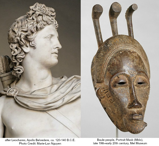 The Art Curator for Kids - Ethnocentrism and Xenophobia Lesson Plan - Apollo Belvedere and Baule mask, Ethnocentrism lesson