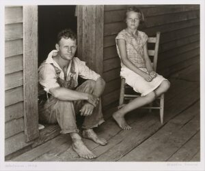 The Art Curator for Kids - Fathers in Art History - Walker Evans, Floyd and Lucille Burroughs on Porch, Hale County, Alabama, 1936
