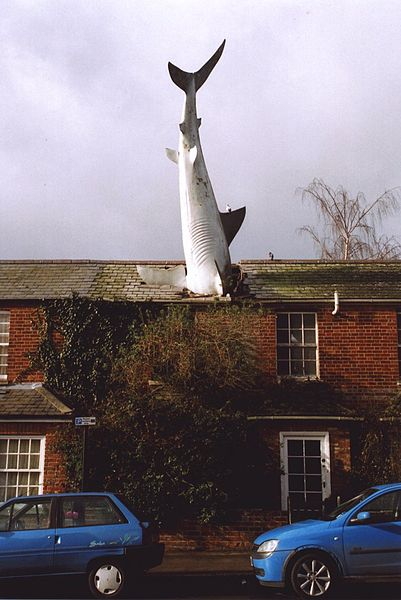 The Art Curator for Kids - 10 Awesome Sharks in Art for Shark Week - John Buckley, The Headington Shark (Untitled), 1986, Photo Credit - Henry Flower