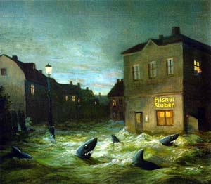 The Art Curator for Kids - 10 Awesome Sharks in Art for Shark Week - Michael Sowa, Sharks of Suburbia