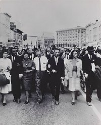 Civil Rights Movement art, Moneta Sleet Jr., Rosa Parks, Dr. and Mrs. Abernathy, Dr. Ralph Bunche, and Dr. and Mrs. Martin Luther King, Jr. leading marchers into Montgomery, 1965
