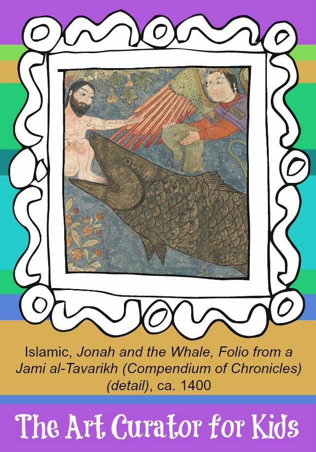 The Art Curator for Kids - Artwork of the Week - Islamic, Jonah and the Whale, Folio from a Jami al-Tavarikh, ca. 1400
