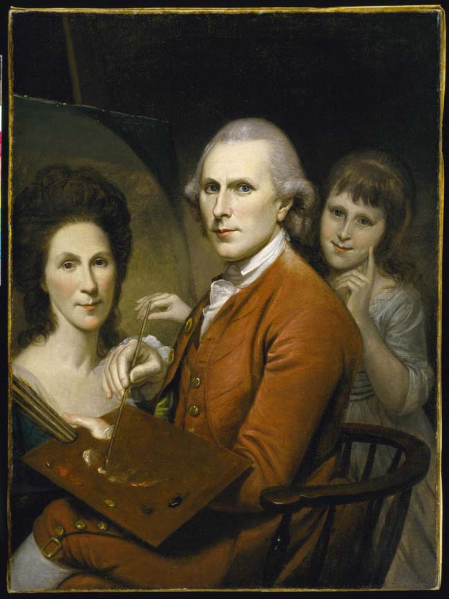 Charles Willson Peale, Self-Portrait with Angelica and Portrait of Rachel, c. 1782-1785