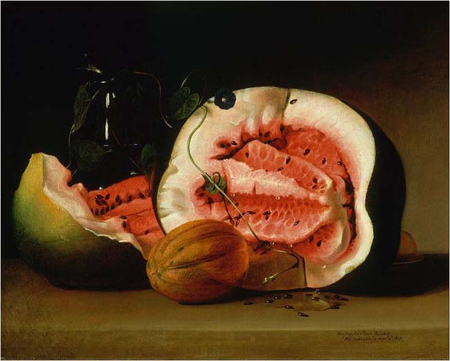 Raphaelle Peale, Melons and Morning Glories, 1813