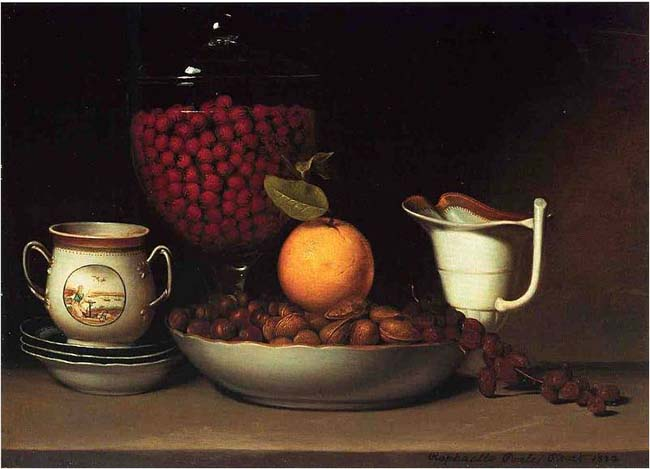 Raphaelle Peale, Strawberries, Nuts, and Citrus, ca. 1822
